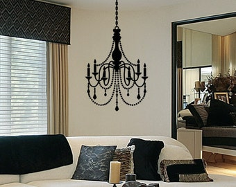 Chandelier Decal Vinyl Chandelier Wall Decal Decorations Silhouette Fancy Removable Chandelier Sticker Decor
