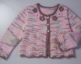 Baby Girl Pink Cardigan/Sweater ,flowers, lace,white,pink, brown.