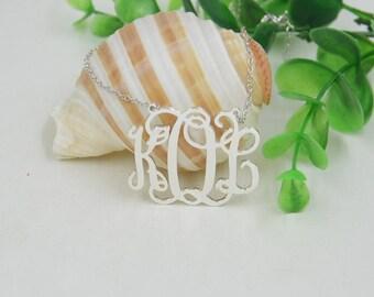 Personalized silver Monogram necklace-custom any intial necklace-Personalized Pendant Name Necklace
