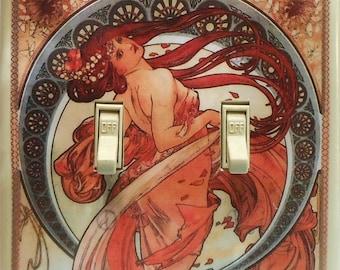 10 Choices Mucha double plates Mucha light switch covers Mucha Job art prints Mucha wall decor Mucha switchplates Mucha posters Art Nouveau