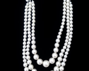 Vintage White Pearl Multistrand Necklace - Pearl Wedding Necklace - Free Shipping