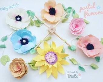 Flower Baby Mobile - Cot/Crib Mobile- Felt Flowers - Girls Mobile - Pastel Mobile