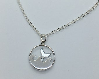 Whale Tail Necklace! Solid Sterling Silver Dolphin Charm & Chain, Textured Fish Tail Necklace, Add Birthstones for a Unique Gift!