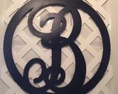 Monogram Door Wreath - Black Monogram Letter - Monogram Wedding Gift - Monogram Door Decor - Monogram Door Hanger - Monogram Door Letter