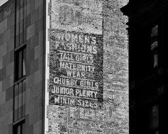 Downtown Detroit Black and White Peeling Sign Urban Photography on Metallic Paper