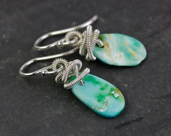 Genuine Turquoise Earrings, Ajax Mines, Gold Fill Wire Wrapped