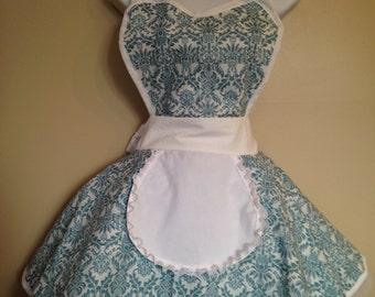 Vintage French Maid Turquoise Blue Damask apron