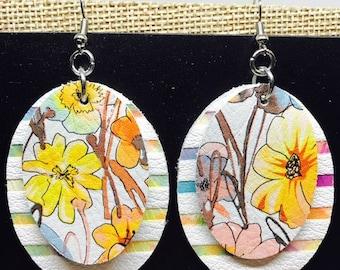 Leather earrings, Earrings, Leather, Oval earrings, Floral earrings, Bold earrings, Statement earrings, Drop earrings, Lightweight earrings