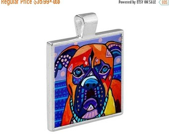 Boxer Dog Folk Art Jewelry - Pendant Metal  Gift Art Heather Galler Gift-  Dog Lovers Abstract Modern Vegan Gifts