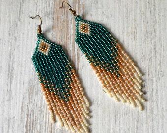 Beaded earrings, Boho style, Emerald, long fringe earrings, beadwork jewelry, dangle earrings,  Native American style, seed bead earrings