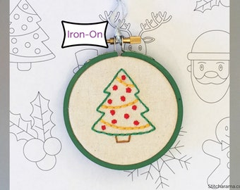 Christmas Ornaments Embroidery Pattern • Iron On Transfer Christmas Holiday Embroidery Pattern