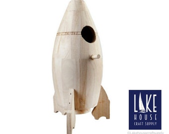 Plain Rocket Ship Birdhouse. Bare Wood Spacecraft. Wood Rocket Birdhouse. Wood Space Ship. Space Theme Centerpiece.
