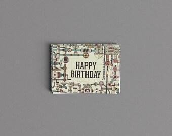 Green Robot Industrial Printed Birthday Card