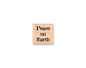 Peace on Earth Rubber Stamp~Christmas Stamp~Holiday Stamps~Christmas Card Making~Christmas Tags~Mountainside Crafts (14-61)