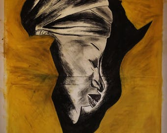 Original oil pastel on canvas africa inpsired