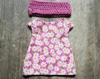 """Doll Clothes ~ 16"""" Cloth Doll ~ Pink Daisies Floral Dress & Crochet Scarf"""