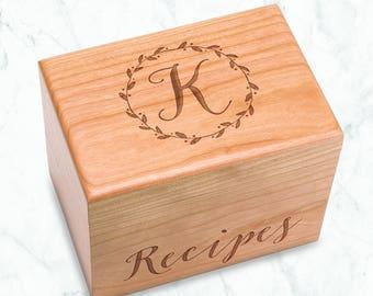 Engraved Recipe Box - Wooden Recipe Box - Wood Recipe Box - Engraved Wreath - Custom Housewarming Gift - Gift for Foodie - Wood Initial Box