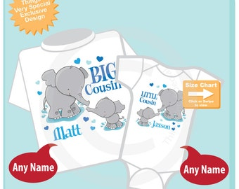 Set of Two, Personalized Elephant Big Cousin Boy and Little Cousin Boy Shirt or Onesie Pregnancy Announcement (06192015b)