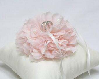 Wedding ring pillow, wedding bearer ring pillow, blush ring pillow, blush bloom on ivory silk ring pillow, wedding ring cushion