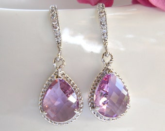 Wedding Jewelry, Lavender Earrings, Lilac Earrings,Violet,Purple, Silver, Cubic Zirconia,Bridesmaid Jewelry,Bridesmaid Gifts