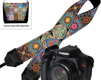 Camera Neck Strap Boho Dslr Camera Strap SLR Padded Camera Strap Nikon Canon Persian Patchwork Jewel Tones Colorful MTO