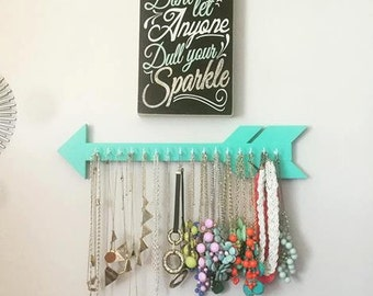 Arrow jewelry holder, dorm decor, jewelry organizer, gift, earring holder, necklace display, gift idea, teen, for her, bedroom decor, gift