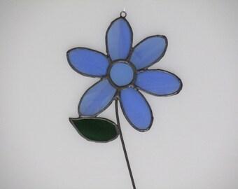 Stained Glass Light Blue Mom's Flower Suncatcher