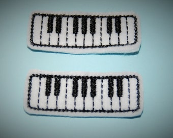 Set of 2 Piano Keyboard Feltie Felt Embellishments
