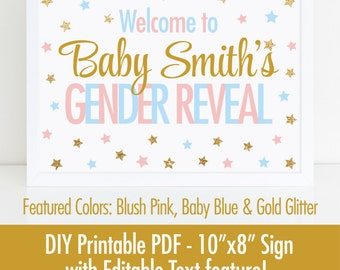 Twinkle Twinkle Little Star Gender Reveal Decorations, Welcome Sign, Printable 10x8 EDITABLE TEXT PDF - Blush Pink Baby Blue Gold Glitter