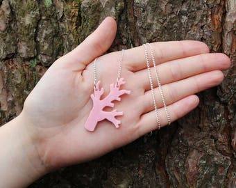 """Pale Pink Laser Cut Acrylic Coral Branch Necklace 20"""" Silver Chain"""