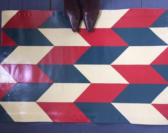 Red, Khaki & Navy Chevron Checkers Floor Cloth