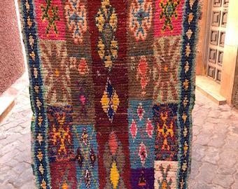 Vintage Moroccan Boucherouite berber Rug,   (186x110cm) [Shipping Inclueded]