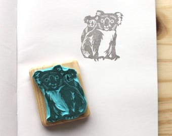 Koala mum and baby rubber stamp, hand carved, wood mounted