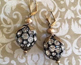 Rhinestone ball of fun: Vintage assemblage earrings, repurposed jewelry, boho bling