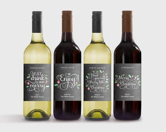 Set of 4 Christmas Wine Labels Template - Printable Wine Bottle Labels with Editable Text Boxes - Instant Download