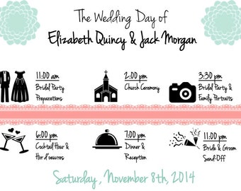 PRINTABLE Wedding Weekend Itinerary LACE TIMELINE - Custom Printable, Various Sizes