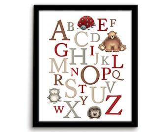 ABC Print Alphabet Letters Woodland Nursery Woodland Alphabet Alphabet Nursery Alphabet Art ABC Art Letter Art Alphabet Print Woodland Art