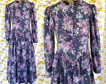 Vintage Laura Ashley Dress | Purple & Blue Rose Wool and Cotton Girl's Prairie Dress Size USA8, EU36, UK10 | Long Sleeve Floral Dress