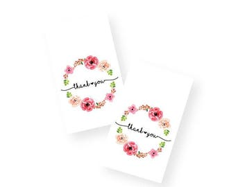 Print & Cut - Floral Wreath Favor Tags with Handwritten Font, DIY Printable thank you tags