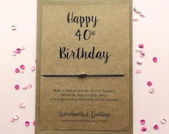 Happy 40th birthday wish string bracelet, forteith heart birthday gift, 40th birthday wish string bracelet, happy 40th birthday present