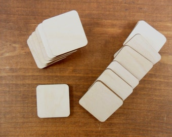 """Wood Squares 1"""" OR 1 1/4"""" x 1/8"""" Rounded Select Size - Laser Cut Wood Shapes - 25 Pieces"""