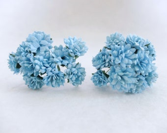 20 15mm bright blue mulberry flowers - paper flowers