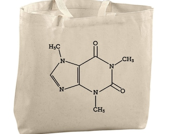 Caffeine Science Bag Large Totes Beach Bags Canvas Tote Bag Chemistry Tote Reusable Grocery Bag Gifts for Teachers Coffee Lover Tote Bag