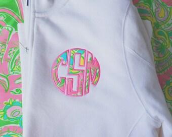 White Monogrammed Preppy Lilly Pullitzer Quarter Zip Pullover Sweatshirt