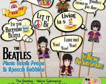 PRINTABLE The Beatles Yellow Submarine Photo Booth Props & Speech Bubbles Photo Props