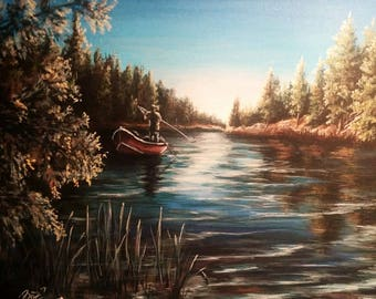 "Gone Fishin'- 12""x16"" Acrylic Painting"