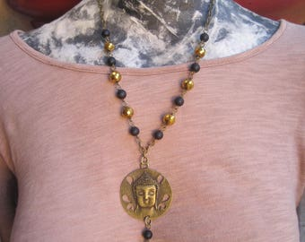 Buddha Medallion on Black and Gold Beaded Necklace - Buddha and Lotus Charm Necklace - Buddha Charm on Beaded Chain Necklace