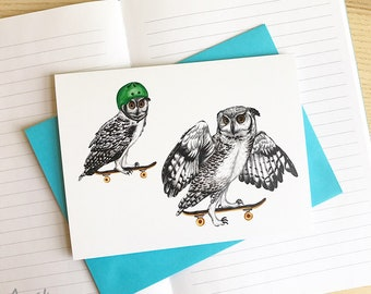 Skateboarding owls card