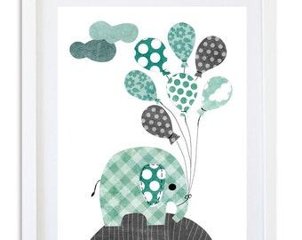 Boys Nursery decor, Elephant print, Kids room wall art, Elephant nursery art - Blue Grey Elephant and balloons