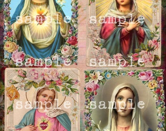 COLLAGE SHEET instant DIGITAL Download Antique Holy Religious Prayer Cards Printable Religious Cards Victorian Scrap Floral Prayer Cards